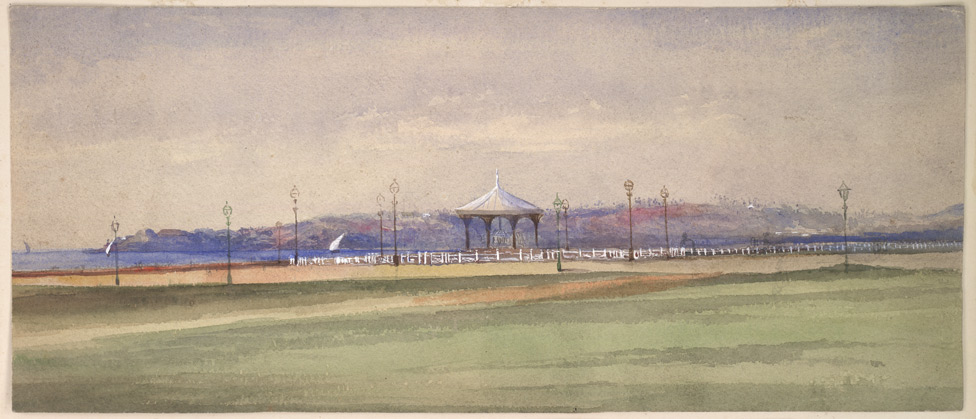 Inscribed on reverse: 'Bombay Esplanade from our Tents. March 1870'.